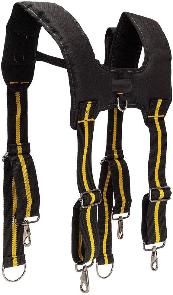 Grandiy Adjustable H-Shape Clip on Braces Suspenders Padded Tool Belt Suspenders Work Belt Suspenders