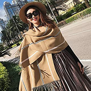 Winter Long Scarf Scarf Ladies Autumn and Winter Wild Long Paragraph Warm Thickening Collar British Tassel Knit Shawl Dual-use (Color : Khaki) Winter Soft Scarf (Color : Khaki)