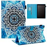 Ostop Compatible with All-New Amazon Fire HD 10 Tablet 2019/2017/2015 Case with Pencil Holder,PU Leather Wallet Slim Smart Cover [Auto Sleep/Awake] Magnetic Flip Folio Stand Case,Blue Mandala