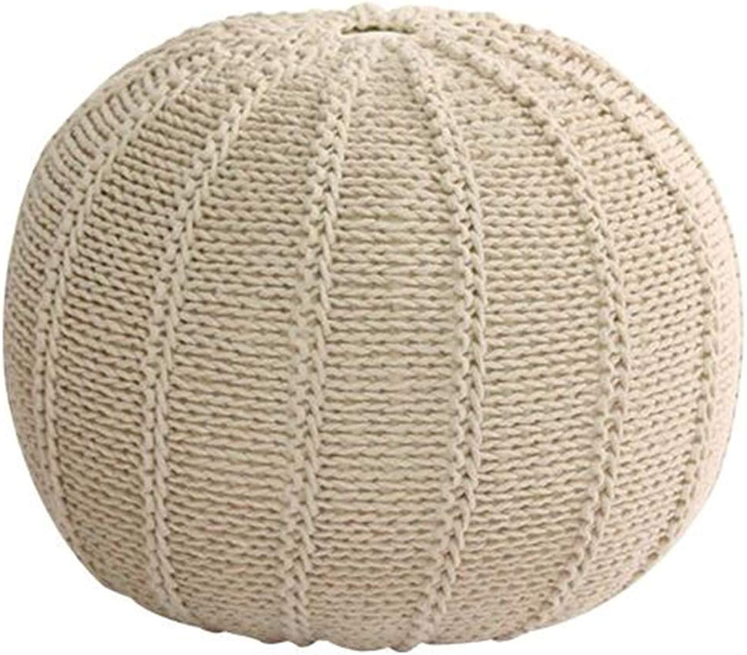 Foot Stool Braided Cushion Home Round Seat Rest Cotton Handmade, 8 colors ( color   Brown A )