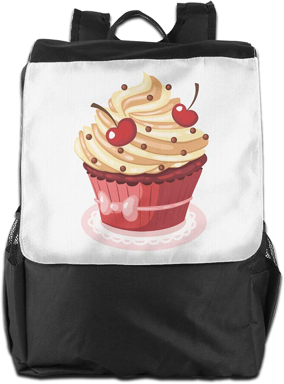 Cake Cherry Printed Girls Backpack Lightweight Casual Shoulder Bag School Bookbags