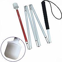 VISIONU Aluminio Baston Blanco para Ciegos y Baja Vision Plegable, 6 Secciones