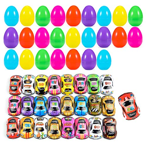 Find Bargain Toy Filled Easter Eggs, 25 Pcs Easter Eggs Bulk with 25 Pcs Pull-Back Construction Vehi...