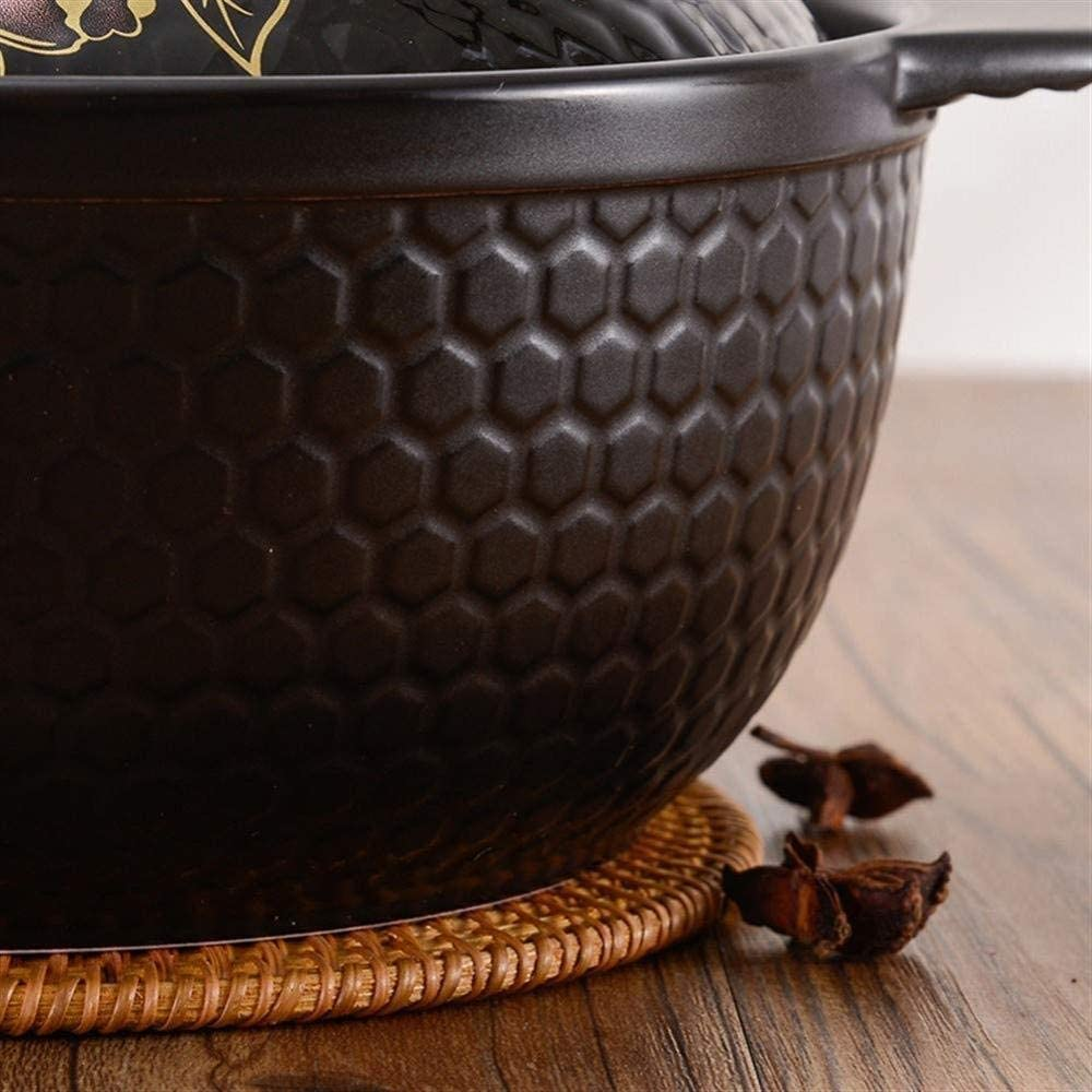 YUHT Clay Casserole Pot Terracotta Stew Pot Ceramic Casserole - Even Heating, polyethylene Pot Bottom, Energy Saving and Time Saving, 2.8 Liter 2.8 Liter Capacity and Soup Pot (B)