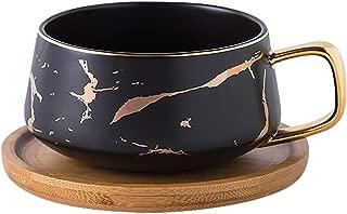 Jusalpha 10 oz Golden Hand Print Tea Cup And Saucer Set/Coffee Cup And Bamboo Saucer Set FDTCS19 (Black)
