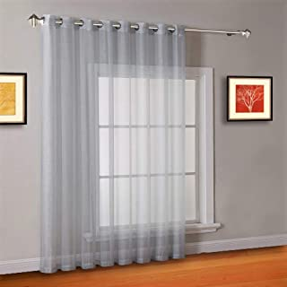 Warm Home Designs 1 Extra-Wide Gray Silver Sheer Patio Curtain Panel 102 x 95 Inch Long with Grommets. Designed as Patio Door, Sliding Glass Door, or Room Divider Drape - K Patio Silver 96