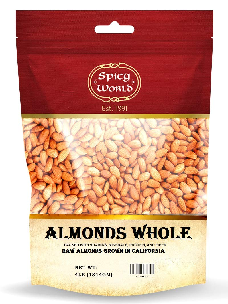 Spicy World Almonds Whole 4 Pound - Natural Raw Max Be super welcome 81% OFF Calif in Grown