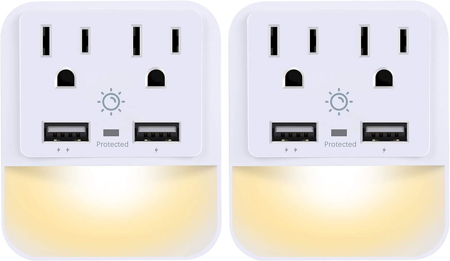 USB Wall Charger, Outlet Adapter, POWRUI 2-Pack Surge Protector(1080 Joules) with Dual USB Charger Ports(2.4A Total), Dual Outlet Extender and Dusk-to-Dawn Sensor Night Light, White, ETL Certified