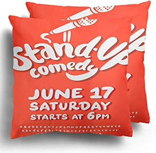 Throw Pillowcase Polyester Case 2 Pack Club Mic Stand Up Comedy Open Comedian Comic Concert Entertainment Fun Cushion Cover for Winter Home Decor 18 x 18 Inches