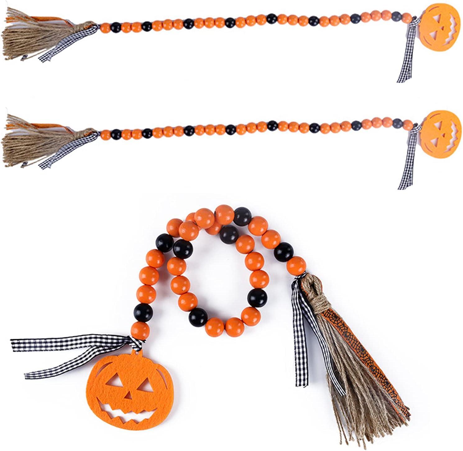 3 Pcs Halloween Wooden Seattle 2021 Mall Beads Garland with BlackOrange Tassels