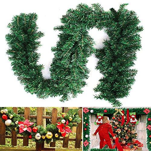 Mald 2.7M Tannengirlande Weihnachtsgirlande Weihnachtsdeko Efeugirlande künstliche Weihnachten Girlande Dekorieren Tannen Grün Natur 2.7M (1 STK)