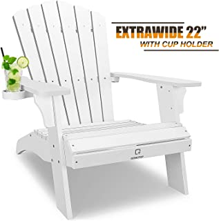 OT QOMOTOP White Adirondack Chair with Cup Holder, Extrawide Poly Lumber Lounge Chair Outdoor Patio Chairs for Garden and Lawn, All Weather Resistant, 38L 30W 41.5H