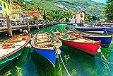 GZSXJL Rompecabezas de 1000 Piezas para Adultos y niños - Rompecabezas de Barcos de Madera del Lago de Garda de Italia con póster Colorido Rompecabezas de 1000 Piezas