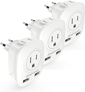 [3-Pack] European Plug Adapter, Anstronic International Power Adaptor with 2 USB Ports,2 American Outlets- 4 in 1 European Plug Adapter for France, German, Greece, Italy, Israel, Spain (Type C)