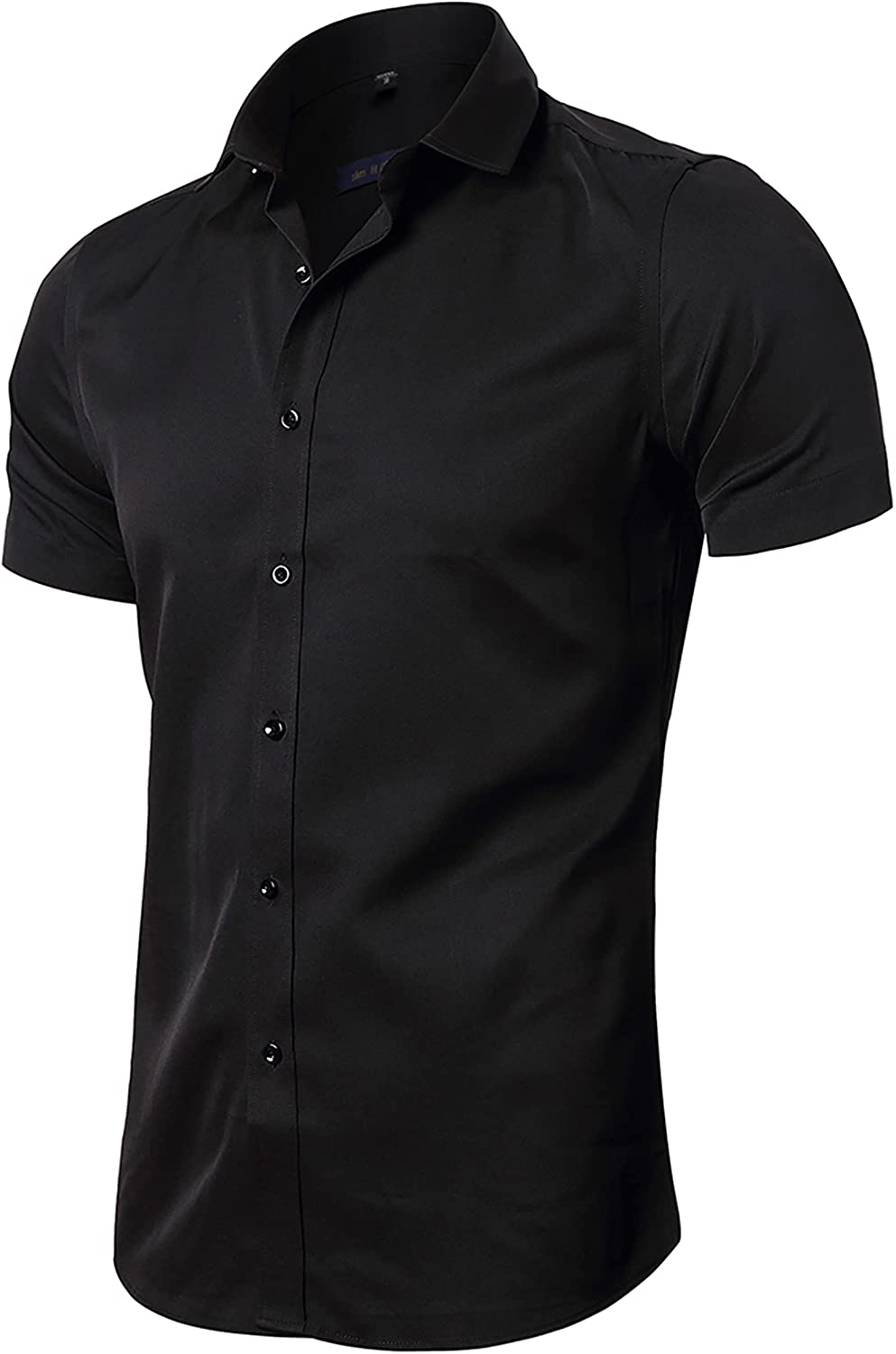 FLY HAWK Mens Dress Shirts Selling and selling 2021 new Fitted Bamboo Fiber Sleeve Short Ela