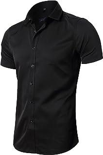 FLY HAWK مردانه پیراهن لباس، لاغر مناسب بامبو فیبر کوتاه آستین الاستیک گاه به گاه دکمه پایین پیراهن