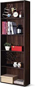 Tangkula Bookcase 5-Shelf Multi-Functional Modern Wood Storage Display Open Bookshelf for Home Office (Walnut)
