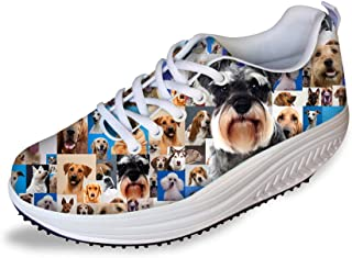 FOR U DESIGNS Women's Cute Dog Print Comfortable Swing Fitness Walking Shoes Tennis Sneaker Wedges