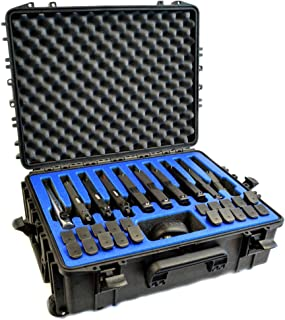 10 Pistol 20 Magazine Doro D2116-7W Heavy Duty Wheeled Gun Case with MyCaseBuilder Custom Designed Military Grade Foam Insert - Waterproof Crushproof Storage and Transport