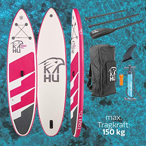 KAHU® Tour 10'8'' Stand up Paddling Board – aufblasbares iSUP Board komplett Set inkl. Alu-Paddel und Pumpe - Touringboard für Anfänger – 335x78x15cm – 150kg Traglast – Kajak Sitz als Zubehör – Pink