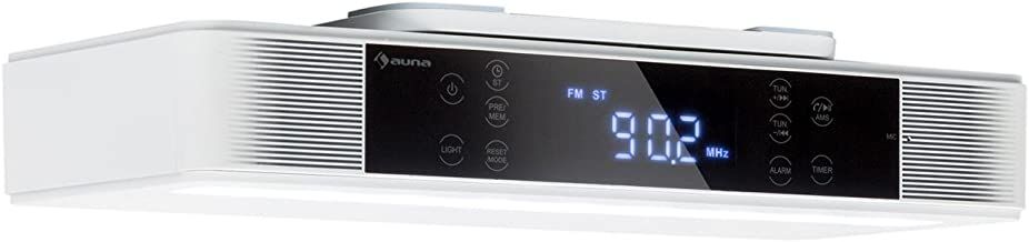 auna KR-140 • Kitchen Radio • FM PLL Radio Tuner • 4.1 Bluetooth • 40 Station Presets • Hands-Free Functionality • LED Work Surface Lighting • White