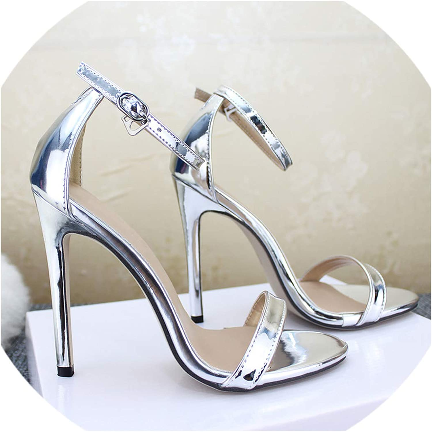 Women's shoes Sandals with Buckle High Heels gold and Silver Wedding shoes