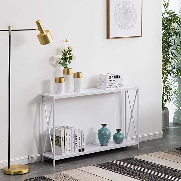 SSLine White Narrow Console Table With Storage Shelf 2 Tier Slim Entryway Accent Table X Design Sofa Side Table With Metal Frame MDF Wood Hallway Entry Table For Living Room Porch Doorway