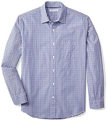 Amazon Essentials Men's Regular-Fit Long-Sleeve Casual Poplin Shirt, Blue/Purple Gingham, X-Large