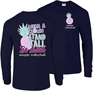 Victory Sports Graphics Simply Volleyball Pineapple Long Sleeve Tee