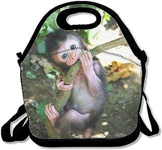再利用可能なランチバッグベビーモンキーフードハンドバッグカスタムランチホルダープリントランチトートバッグ大人と子供のための多機能ランチボックスオーガナイザー