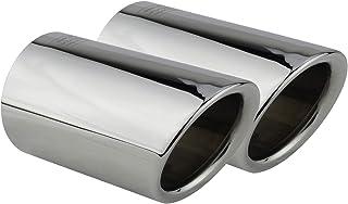 L&P A290 2 Auspuffblenden Auspuffblende Chrom Edelstahl spiegel poliert Plug&Play Endrohrblenden Endrohrblende Auspuff Blende für 60mm Endrohre