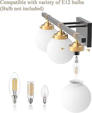 Tipace Mid Century Modern Bathroom Vanity Light Fixtures Over Mirror,Black/Golden 3 Lights Vanity Lights with Milk White Glas