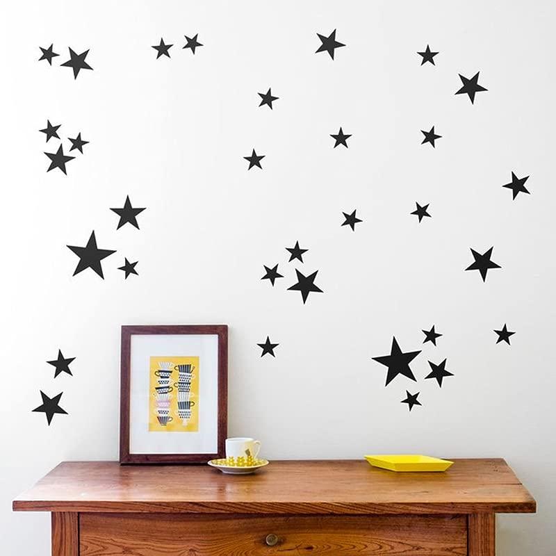Whitelotous 39 Pcs DIY Removable Vinyl Stars Wall Sticker Decal Wall Decor For Kids Room Black