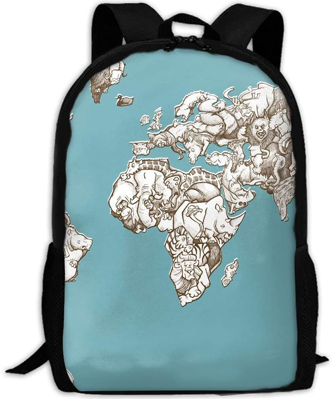Backpack Adult Animal Artistic Map Unique Shoulders Bag Daypacks