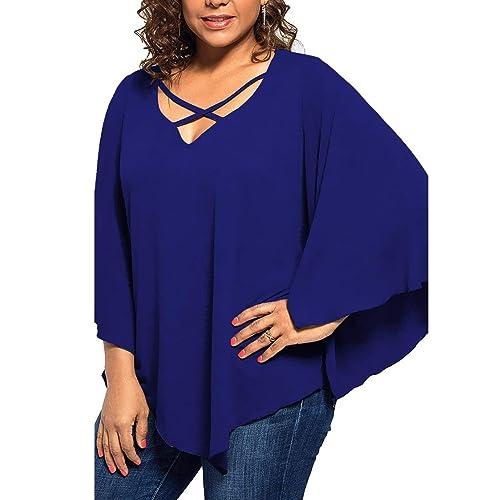 bb3f11a4fe89bf PinkWind Women's Plus Size Batwing Sleeve Crisscross T Shirt Blouse Tops
