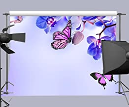 FUERMOR Background 7×5 ft Butterflies and Blue Flowers Photography Backdrop Photo Props Room Mural RQ036