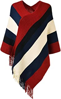 Women's Elegant Knitted Poncho Top with Stripe Patterns and Fringed Sides