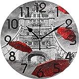 Archiba Reloj de Pared Redondo, Elegante Puente de Londres con Estampado de Paraguas Volador Rojo Reloj de Pared Redondo Retro Decorativo, Reloj silencioso analógico de Cuarzo con batería de 25 cm