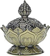 Saim Lotus Flower Chinese Buddha Alloy Metal Incense Burner Incense Holder Handmade Censer Bowl Buddhist Decor, Home Decoration - Small (Bronze)