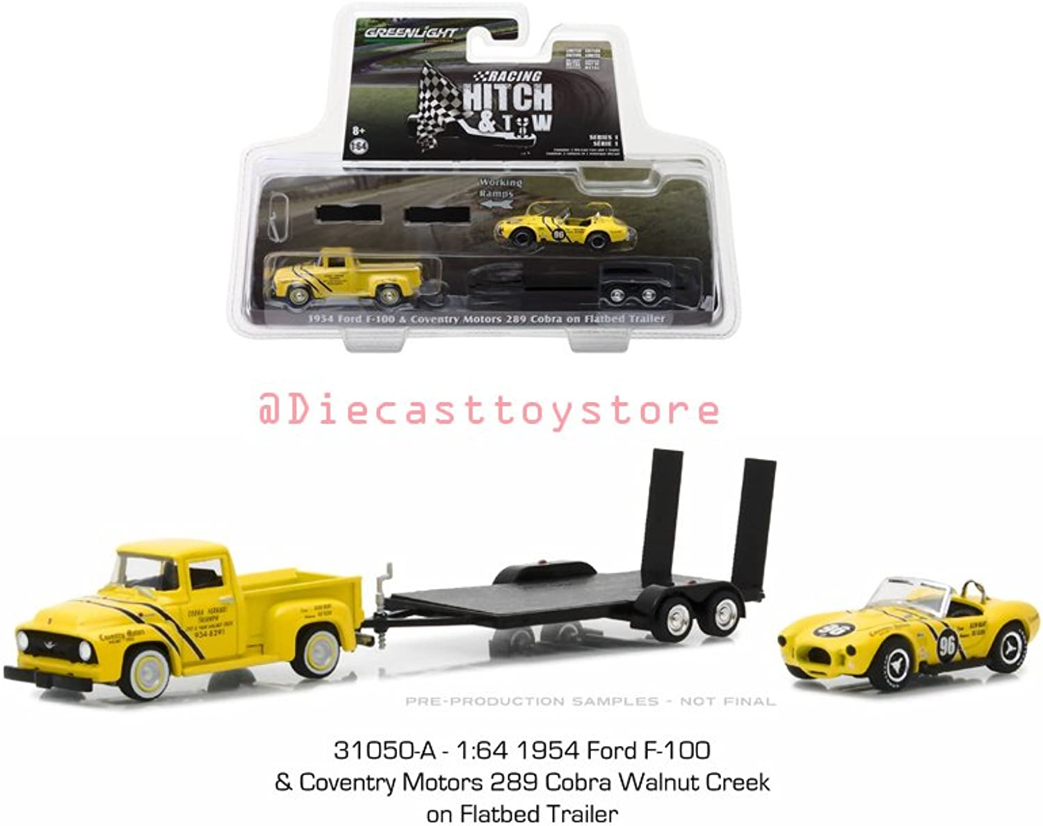 Greenlight New DIECAST Toys CAR 1 64 Racing Hitch & Tow Series 1  1954 Ford F100 & Coventry Motors 289 Cobra ON Flatbed Trailer 31050A