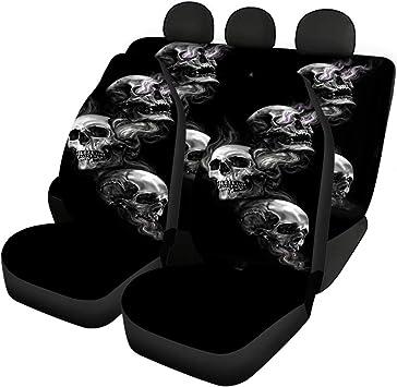 Belidome Skull Car Seat Covers Set 4 Piece Halloween Auto Decor Protector Universal Fit Vehicle Sedan SUV Van: image