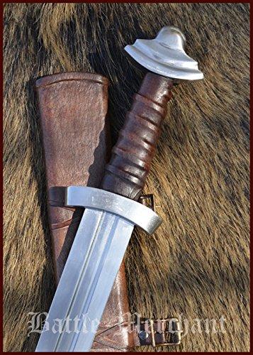 Battle-Merchant Wikingerschwert mit Scheide, 11. Jh, Schaukampfschwert SK-B Echt Metall Schwert