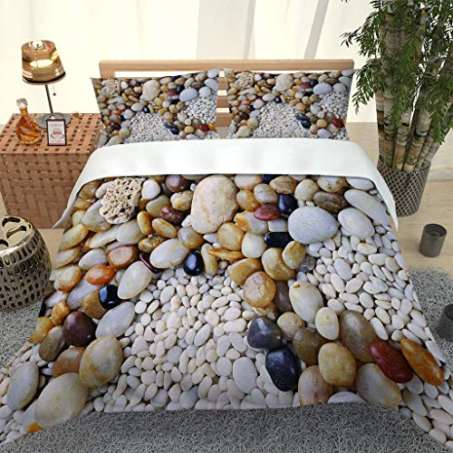 AOJHG Duvet Cover Set King 230X220Cm Bedding Set With 2 Pillowcases 50X75Cm Pretty Pebble Pattern Duvet Cover With Zipper Closure Anti-Allergic Soft Microfiber Quilt Cover