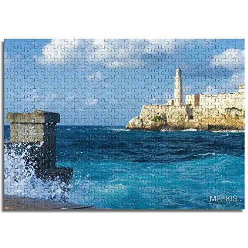 BOVIENCHE Puzzel Für Erwachsene 1000 Teile Havanna Küste, Kuba Wohnkultur Gemälde Plakate -(52 x 38cm)