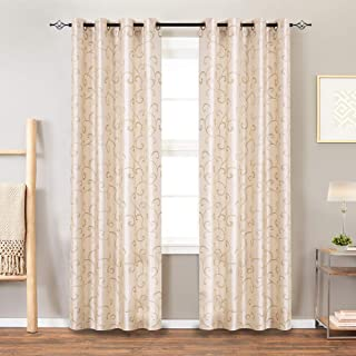 jinchan Curtains Ivory 84 inches Living Room Drapes Faux Silk Dupioni Swirl Embroidery Grommet Top Window Treatment Set Embroidered Drapery Bedroom Curtain Set 2 Panels