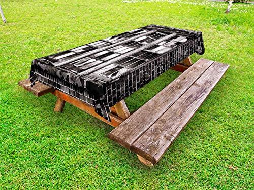 ABAKUHAUS industrieel Tafelkleed voor Buitengebruik, Gebroken raam, Decoratief Wasbaar Tafelkleed voor Picknicktafel, 58 x 84 cm, Charcoal Grey Pale Grey