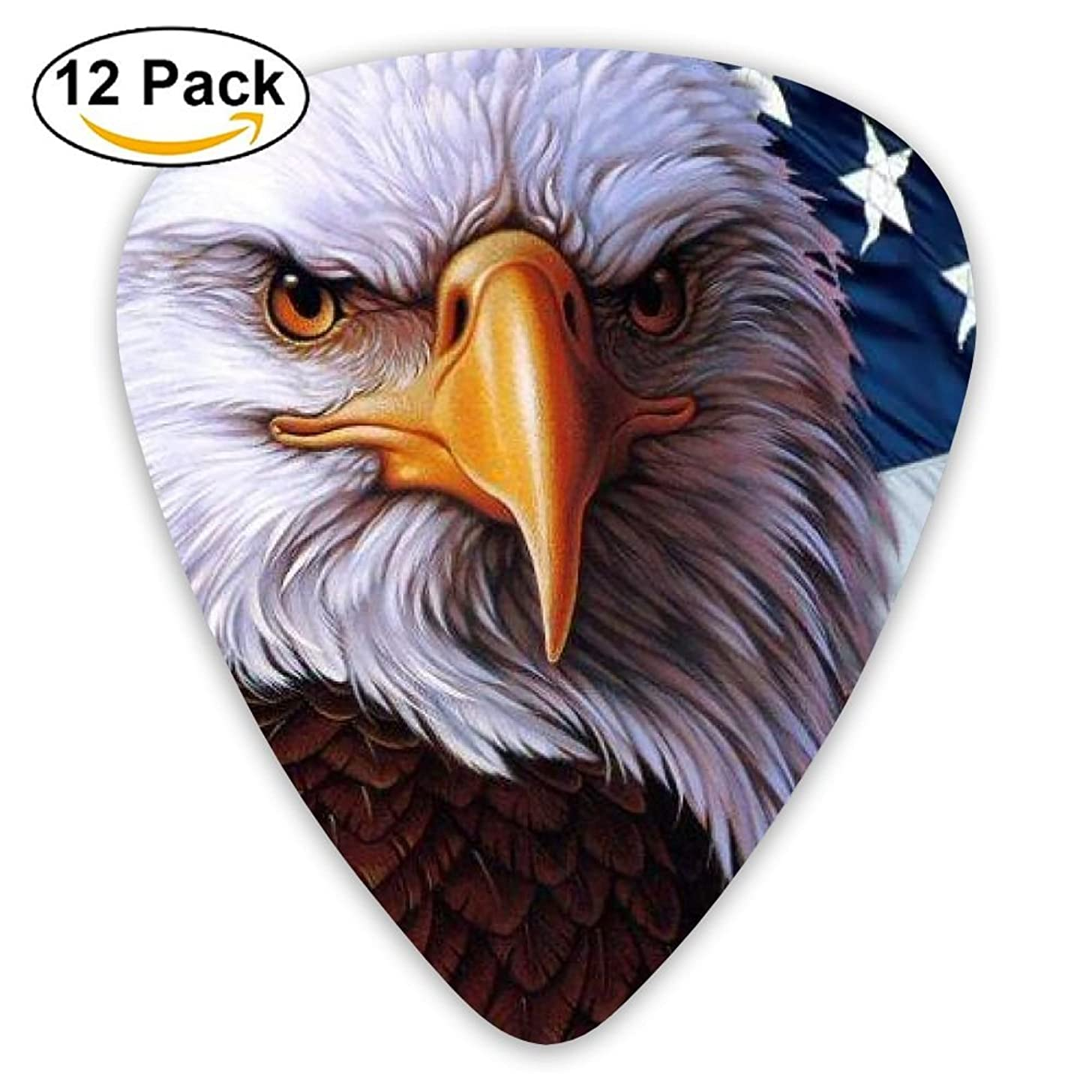 12-pack Fashion Classic Electric Guitar Picks Plectrums American Eagle Flag Stars Instrument Standard Bass Guitarist