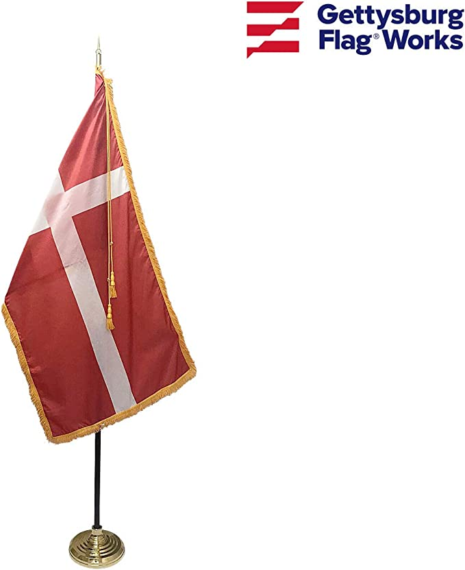 Amazon Com 3x5 Denmark Indoor Flag With Pole Hem And Gold Ornamental Fringe Made In Usa Garden Outdoor