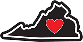 Heart in Virginia Sticker VA Vinyl Decal Label Stickers, Die-Cut Shape for Water Bottle Laptop Luggage Bike Laptop Car Bumper Helmet Waterproof Show Love Pride Local VA is for Lovers UVA