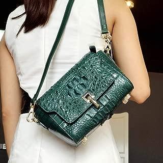 HAIHAI <b>Business Luxury Fashion Classic Green Leather Shoulder Messenger Bag Bean Bag Small Square Bag (25 * 7 * 15cm)</b> Shoulder Bags (Color : Green)